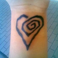 Heart spiral wrist tattoo