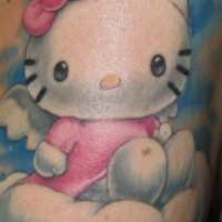 Realistic hello kitty in heaven  tattoo