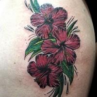 Dark violet hibiscus flowers tattoo