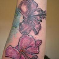 Dark purple hibiscus tattoo