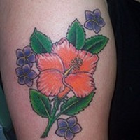 Orange hibiscus with purple flowers tattoo