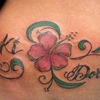 Writings with Hibiscus tattoo