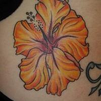 Yellow hibiscus flower tattoo