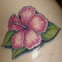 Delicious pink hibiscus tattoo
