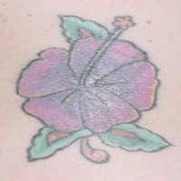 Tender purple hibiscus tattoo