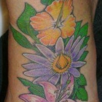 Hibiscus flowers tattoo on foot
