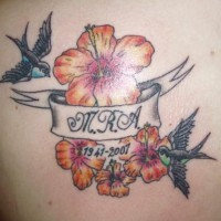 Hibiscus with sparrows memorial tattoo