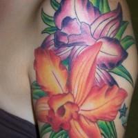 Orange and purple hibiscus tattoo