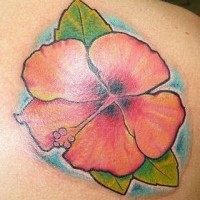 Realistic water hibiscus tattoo