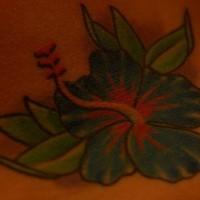 Blue hibiscus flower tattoo