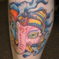 Pink ganesha in sky tattoo