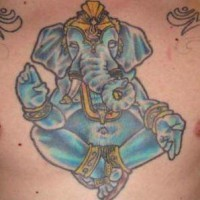 Blue sitting ganesha chest tattoo