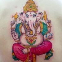 Colourful ganesha hindu deity tattoo