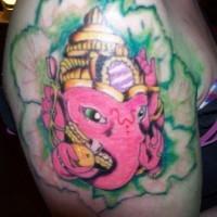Pink ganesha in green lotus tattoo
