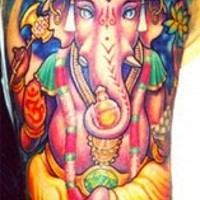 Colourful ganesha pink elephant tattoo
