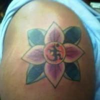 Hindu mantra on lotus tattoo