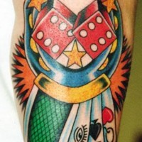 Horseshoe with dice and cards classic tattoo