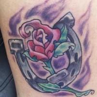 Horseshoe with rose tattoo