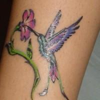 Majestic purple hummingbird tattoo