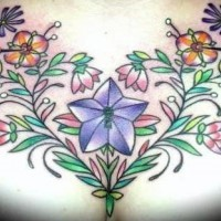 Flower pattern and hummingbird on chest