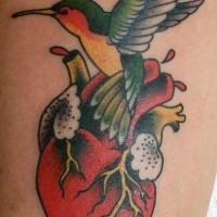 Real heart and hummingbird tattoo