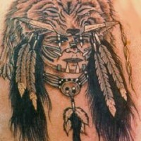 Indian chief in bear skin tattoo