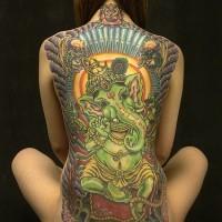 Indian green ganesha full back large tattoo