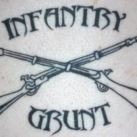 Infantry with crossed guns  tattoo