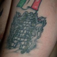 bandiera irlandese con castello e leoni tatuaggio