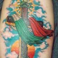 Italian cross coloured tattoo
