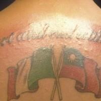 Italian flag tattoo on back