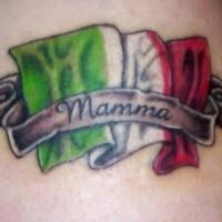 Mamma Italia flag tattoo