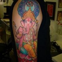 Pink hindu ganesha tattoo