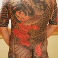 samurai giapponese edrago sul tutto il corpo tatuaggio