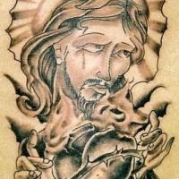 gesu e cuore ardente tatuaggio