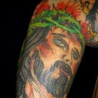 gessu addolorato tatuaggio tradizionale colorato