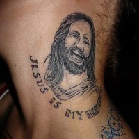 Jesus homeboy tattoo on neck