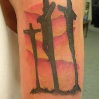 Golgotha cross tattoo in colour