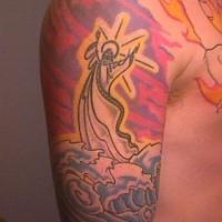 Jesus in sea colourful tattoo