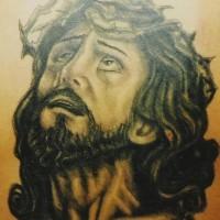 Gesu ritratto tatuaggio nero