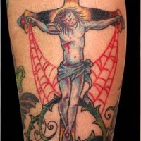 Jesus on cross with injure tattoo