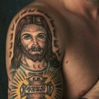 Fire department tattoo with jesus
