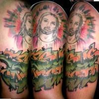 Jesus face in field tattoo