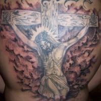 Jesus crucifixion tattoo on back