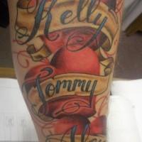 Kids names in hearts tattoo