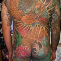 Capolavoro tatuaggio sul tutto corpo enorme serpente