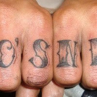 Knuckle finger tattoo, who's next, big black designed
