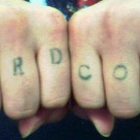 Knuckle tattoo, hardcore, thin, simple style of letters
