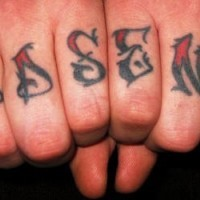 Knuckles tattoo, interesting sharp style inscription
