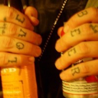Knuckle tattoo, love beer, anchor, styled inscription